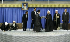 Iran's Ayatollah Ali Khamenei gives his official seal of approval to president-elect Hasan Rouhani