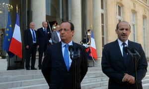 President Francois Hollande welcomes Ahmad al-Assi al-Jarba, President of the National Coalition for Syrian Revolutionary and Opposition Forces (SNC) before their meeting at the Elysee presidential palace in Paris, France on 29 August  2013.
