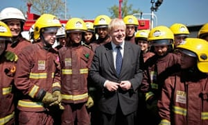Boris Johnson with fire fighters