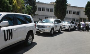 UN vehicles carrying chemical weapons experts, arrive at Yousef al-Azma military hospital in Damascus, 30 August, 2013.