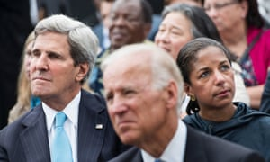 US Secretary of State John Kerry (L), US Vice President Joseph R. Biden (C) and National Security Adviser Susan Rice listen while US President Barack Obama speaks at the Lincoln Memorial on the National Mall August 28, 2013 in Washington, DC.