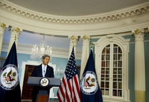 US Secretary of State John Kerry speaks about the situation in Syria from the Treaty Room at the State Department in Washington, DC on August 30, 2013.