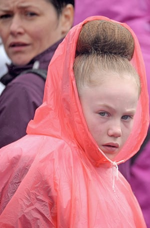 The Annual Cowal Highland Games: dancer in waterproofs