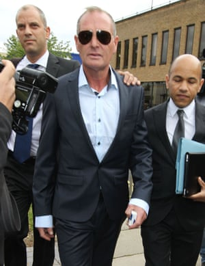 Ex-footballer Paul Gascoigne arrives at Stevenage Magistrates court where he pleaded guilty to assault and being drunk and disorderly.