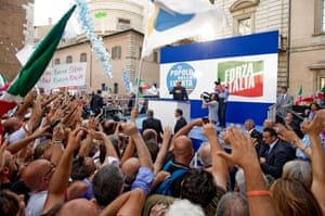 Silvio Berlusconi giving a speech to his supporters outside his mansion in Rome, Italy - 04 Aug 2013.