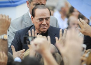 Silvio Berlusconi at a rally outside his mansion in Rome, Italy.