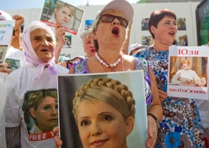 Another icon? Ukrainian supporters of the former prime minister and opposition leader Yulia Tymoshenko hold portraits of her during a rally in central Kiev. President Viktor Yanukovich is under pressure to let his jailed opponent go to Germany for medical treatment