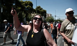 Employees of the Greek Manpower Employment Organisation shouts slogans during a rally against government's plans for job cuts in Athens August 5, 2013.