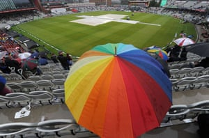 Waiting for a rainbow as the rain delays the fifth day of the Ashes test match between England and Australia at Old Trafford in Manchester.