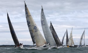 Ship ahoy me hearties, it's Cowes week and here is the J109 fleet rounding a turing mark mid-Solent off the Isle of Wight during day three of the event.