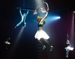 Bianco by The Nofit State Circus limbers up for the Fringe at the Big Top in Fountainbridge at the Edinburgh Fringe Festival, Edinburgh, Scotland. Photograph: Murdo Macleod for the Guardian