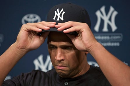 New York Yankee Alex Rodriguez adjusts his cap while speaking during a news conference in Chicago. Rodriguez, baseball's highest-paid player and one of the sport's greatest hitters, was suspended for a record 211 games for his involvement in one of American sport's biggest doping scandals. Photograph: John Gress/Reuters