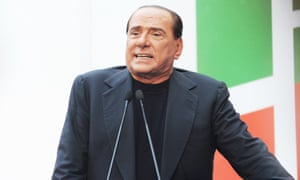 Silvio Berlusconi talks to supporters at a rally by the PDL party.