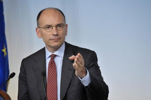 Italian Premier Enrico Letta during a press conference after the cabinet meeting in Rome, Italy, 02 August 2013.