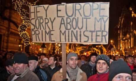 Demonstration against Hungary's new constitution