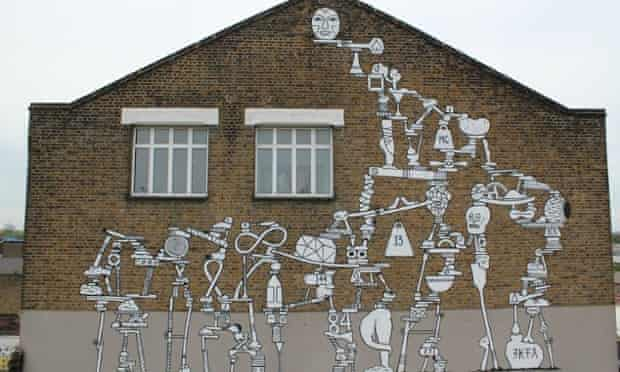 Teetering on the edge … a work by Swedish artist Ekta Ekta, part of the Olympic legacy that has incensed local street artists