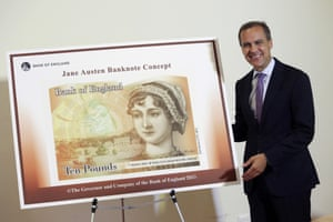 Mark Carney, governor of the Bank of England, stands alongside the concept design for the new Bank of England ten pound banknote, featuring author Jane Austen, during the presentation at the Jane Austen House Museum in Chawton, southern England, on July 24, 2013