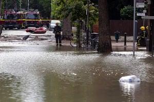 Herne Hill flood: London Fire Brigade in attendance at Half Moon Lane