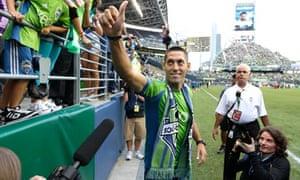 Clint Dempsey greets Seattle Sounders' fans