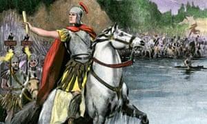 Julius Caesar depicted crossing the Rubicon in 49 BC