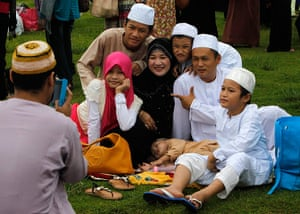 Eid festival: A Muslim family poses for a picture