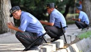Eid festival: Kyrgyz policemen pray