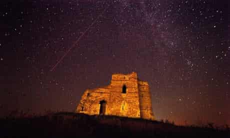 A Perseid meteor over a castle in Bulgaria