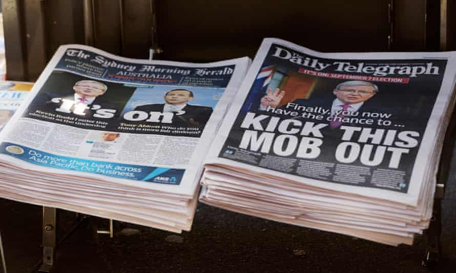 The Daily Telegraph and its uncompromising headline sits next to Fairfax's Sydney Morning Herald. GREG WOOD/AFP/Getty Images