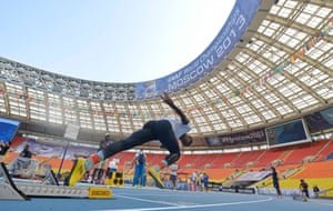 Three, two, one ...: An athlete tests the starting blocks on the eve of the World Athletics Championships start at the Luzhniki stadium in Moscow, Russia. Photograph: Martin Meissner/AP