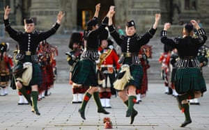 Photo just made available shows Highland dancers perform during Fortissimo, a military and musical spectacular featuring military bands and soldiers yesterday evening on Parliament Hill in Ottawa, Canada. Photograph: James Park/Xinhua Press/Corbis