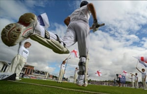 England's captain Alastair Cook runs out to bat before the fourth Ashes test cricket match against Australia at the Riverside in Chester-le-Street near Durham, England. Photograph: Philip Brown/Reuters