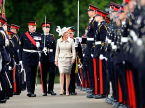 Sophie Countess of Wessex inspects the troops during The Sovereigns Parade at the Royal Military Academy, Sandhurst, England. Photograph: Tim Rooke/Rex Features