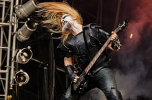 More Bloodstock hair action: Tomas Nilsson of Dark Funeral performs on stage on Day 1 at Bloodstock Open Air Festival 2013 at Catton Hall in Derby, England. Photograph: Gary Wolstenholme/Redferns via Getty Images