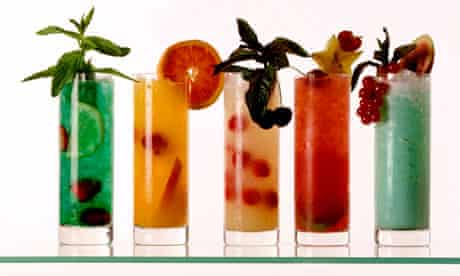 Five non-alcoholic cocktails. Image shot 2000. Exact date unknown.