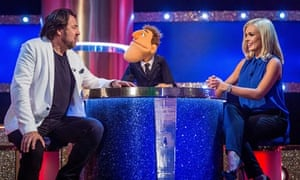 Jonathan Ross, host Dougie Colon and Katherine Jenkins on That Puppet Game Show