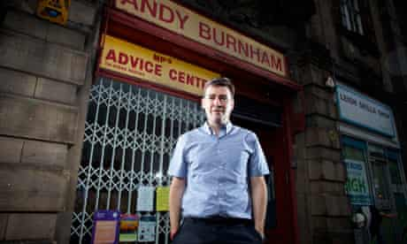 Andy Burnham MP at his constituency office in Leigh, Greater Manchester