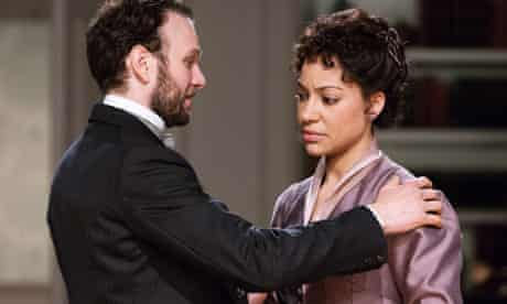 David Sturzaker and Cush Jumbo as Nora Helmer in A Doll's House at the Royal Exchange in Manchester