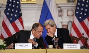 Russian foreign minister Sergey Lavrov talks with US secretary of state John Kerry