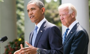 President Barack Obama, joined by Vice President Joe Biden, delivers a statement on Syria in the Rose Garden of the White House in Washington, D.C. on 31 August 31, 2013.