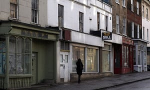 Boarded up shops