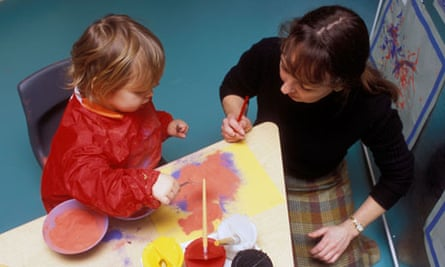 Child and teacher in a nursery