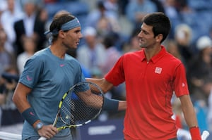 tennis: Nadal of Spain and Djokovic of Serbia greet each other