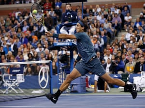 tennis -: Nadal of Spain hits a return to Djokovic of Serbia