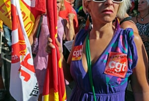 A woman member of the French CGT labour union takes part in a nationwide demonstration against the pension reform in Nice September 10, 2013.