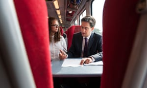 Ed Miliband on the train to Bournemouth before delivering his speech to the TUC.