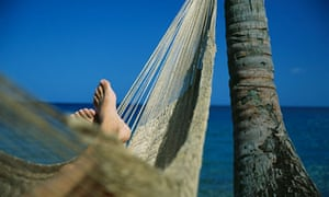 Man Relaxing by Caribbean Sea