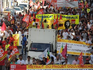 Around 10000 people from the main unions took to the streets of Marseilles and march to protest against unemployment, pensions and low salaries.