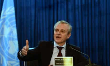 UN drugs and crime regional representative, Jean-Luc Lemahieu speaks in Kabul