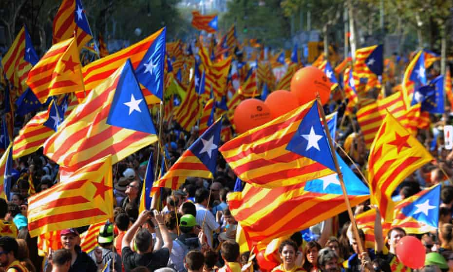 Supporters of independence for Catalonia demonstrating in Barcelona to mark the Spanish region's official day or Diada.