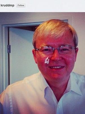 Kevin Rudd shaving cut